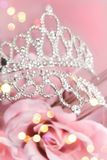 Glitter crown with pink roses Royalty Free Stock Photos