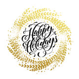 Glitter decoration golden wreath Happy Holidays greeting card Royalty Free Stock Image