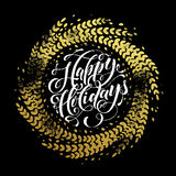Glitter decoration golden wreath Happy Holidays greeting card Stock Image