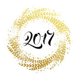 Glitter decoration golden wreath Happy New Year greeting card Royalty Free Stock Photos