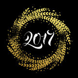 Glitter decoration golden wreath Happy New Year greeting card Stock Images