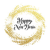Glitter decoration golden wreath Happy New Year greeting card Stock Image