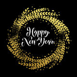 Glitter decoration golden wreath Happy New Year greeting card Stock Photo