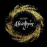 Glitter decoration golden wreath Merry Christmas greeting card Stock Photography