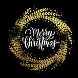 Glitter decoration golden wreath Merry Christmas greeting card Royalty Free Stock Photo