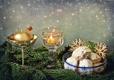 Glitter do Natal e bolinhos de manteiga Foto de Stock