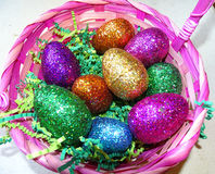 Glitter Easter eggs royalty free stock image