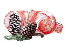 glitter för pinecones för julgarneringgreen Royaltyfri Bild