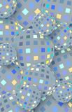 Glitter glass balls graphic. Grey blue yellow mosaic pattern. Abstract geometric vertical 3d background. stock illustration