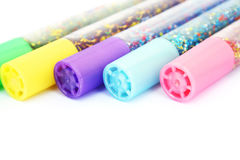 Glitter glue. Colorful glitter glue isolated on white background Stock Photo