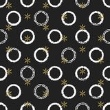 Glitter gold chaotic ring Christmas New Year seamless pattern with snowflakes. Paint brush circle black white background. Golden snowflakes. Vector Stock Photography