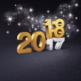 Glitter gold Date 2018 symbol for Greeting card. Gold 2018 New Year type above 2017 and glittering stars, on a festive black background - 3D illustration Stock Image