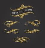 Glitter Gold Flourishes Stock Image