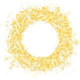 Glitter gold frame. Glitter gold round frame on white background Stock Photography
