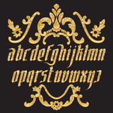 Glitter gold Gothic Font Royalty Free Stock Images