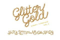 Glitter Gold Handwritten alphabet stock illustration