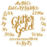 Glitter Gold Handwritten alphabet Royalty Free Stock Photo