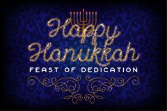 Glitter gold lettering Happy Hanukkah invitation Stock Image