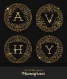 Glitter gold monogram Royalty Free Stock Photography