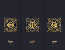 Glitter gold monograms Stock Images