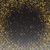 Glitter Gold Particles Frame Effect for Luxury Card. Bright Golden Shimmer Glowing Particles. Falling Golden Confetti. Royalty Free Stock Photo