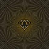 Glitter gold shining diamond with sunburst. Vector illustration Stock Photography