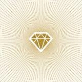 Glitter gold shining diamond with sunburst. Stock Photo