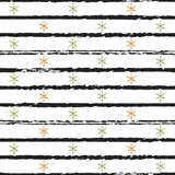 Glitter gold striped Christmas New Year seamless pattern with snowflakes. Paint brush strokes background. Golden. Snowflakes. Stripes lines. Vector illustration Royalty Free Stock Photo