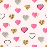Glitter gold and watercolor pink hearts seamless pattern. Valentines Day background. Bright doodle heart confetti. Romantic wallpaper design with symbol of royalty free illustration