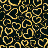 Glitter golden heart seamless background Royalty Free Stock Photos