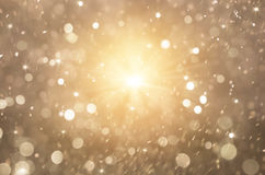 Glitter Golden Lights Background, Christmas Lights And Abstract Blinking Stars Stock Photography