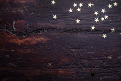 Free Glitter Golden Stars On Grunge Wood Background. Royalty Free Stock Images - 49127549