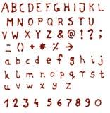 Glitter handmade alphabet. Scanned glue glitter doodle handmade alphabet - high resolution with clipping paths Stock Photography