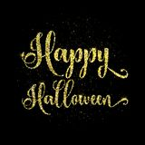 Glitter happy halloween type background. Happy Halloween text background with gold glitter effect Royalty Free Stock Photos