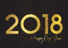 Glitter Happy New Year background. Glittery Happy New Year background with gold sparkle text on a dark background stock illustration