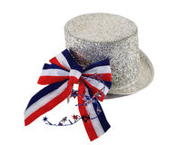 Glitter Hat And Patriotic Bow. Glitter hat for Fourth of July or any demonstration of patriotism Stock Photo