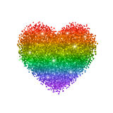 Glitter heart, colors of rainbow, LGBT symbol. Isolated on white background. Vector Stock Images