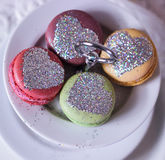 glitter heart cookies dream food macaron Royalty Free Stock Photos