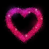Glitter heart frame on black background. Pink purple gradient effect. Vector illustration Stock Image