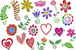 Glitter Hearts & Flowers. A set of glitter hearts and flowers decorative design elements royalty free illustration
