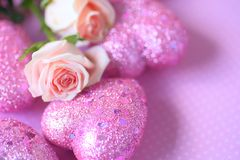Glitter hearts with pink roses Stock Photography