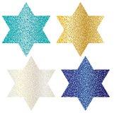 Glitter Jewish stars Stock Photos