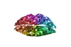 Glitter kiss mark. Colorful glitter stars in the shape of kiss mark on white background Royalty Free Stock Image