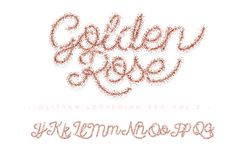 Glitter rose Gold Handwritten alphabet vector illustration