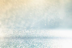 Glitter lights background. silver and blue Stock Images