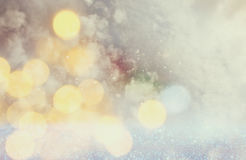 Glitter lights background. silver, gold and white. De-focused Royalty Free Stock Images
