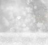Glitter lights background. silver, light blue and white Stock Image
