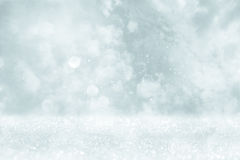 Glitter lights background. silver, light blue and white Stock Images