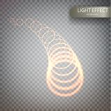 Glitter magic sparkle swirl trail effect. On transparent background. Bokeh glitter round wave line with flying sparkling flash lights. Spiral luminous Royalty Free Stock Photo