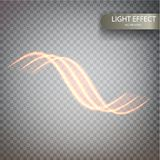 Glitter magic sparkle swirl trail effect on transparent background. Bokeh glitter round wave line with flying sparkling. Flash lights. Spiral luminous Royalty Free Stock Photos